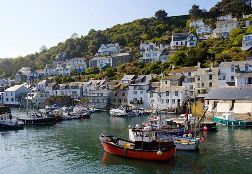 Fishing Village「UK, England, Cornwall, Polperro, fishing harbor」:スマホ壁紙(2)