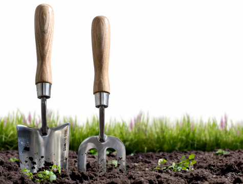 Digging「Small hand-held gardening trowel and fork stuck in some soil」:スマホ壁紙(5)