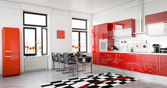 Domestic Kitchen「Modern Red Kitchen」:スマホ壁紙(4)