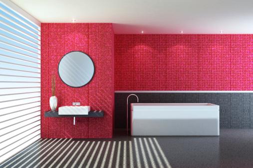 Health Spa「Modern Red Bathroom」:スマホ壁紙(9)