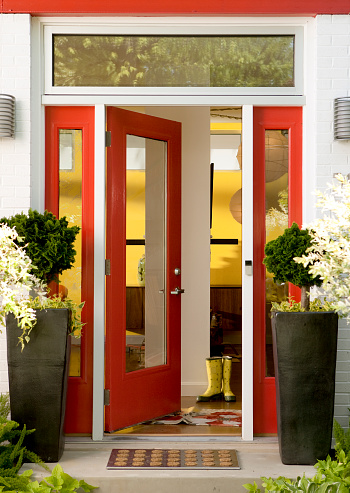 Doorway「Modern red door, entry to Modern/Contemporary House with potted plants」:スマホ壁紙(3)