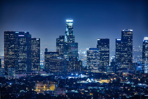 City Of Los Angeles「Los Angeles skyline by night, California, USA」:スマホ壁紙(5)