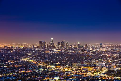 City Of Los Angeles「Los Angeles skyline by night, California, USA」:スマホ壁紙(15)