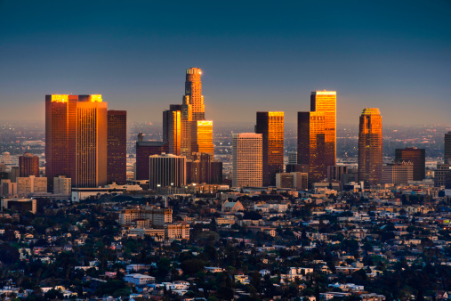 City Of Los Angeles「Los Angeles skyline at sunset thru smog and atmosperic distortion」:スマホ壁紙(16)