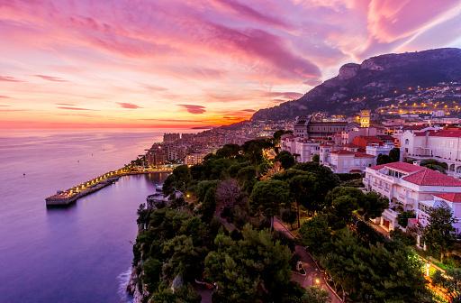 豪華 ビーチ「Monaco, Monte Carlo at dusk」:スマホ壁紙(2)