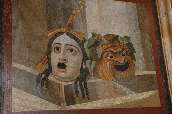 Mosaic「Mosaic Of Comic Masks, Depicting A Young Woman And A Slave Wearing An Ivy Garland Referencing The Cu Artist: Werner Forman.」:写真・画像(3)[壁紙.com]