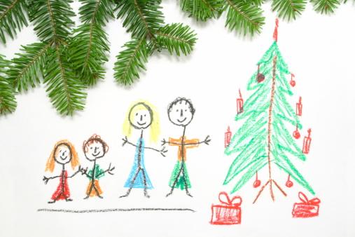 父親「クレヨン画のクリスマス」:スマホ壁紙(15)