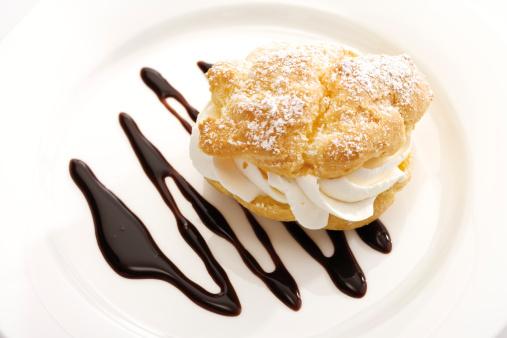 Chocolate Sauce「Cream puff with chocolate sauce on plate」:スマホ壁紙(19)