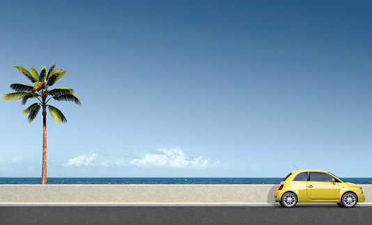 Compact Car「Yellow car near palm tree at ocean」:スマホ壁紙(18)