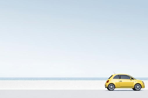 Sea「Yellow car near ocean」:スマホ壁紙(12)