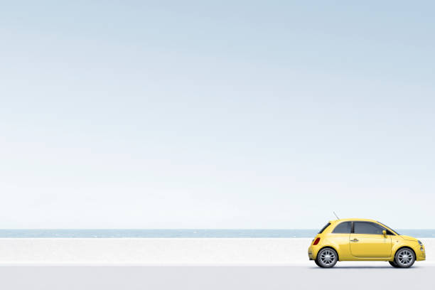 Yellow car near ocean:スマホ壁紙(壁紙.com)
