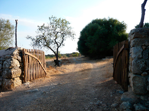 Footpath「Dirt road leading through rustic wooden gate entrance」:スマホ壁紙(17)
