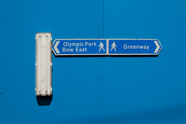 2012 Summer Olympics - London「Greenway sign on hoarding surrounding the Olympic site, Stratford, East London, UK」:写真・画像(3)[壁紙.com]