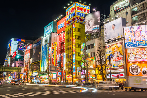 Tokyo - Japan「Tokyo Akihabara Electric Town billboards zooming traffic neon night Japan」:スマホ壁紙(19)