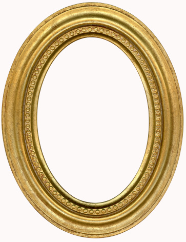 19th Century「Gold Oval Picture Frame. Isolated on White with Clipping Path」:スマホ壁紙(8)