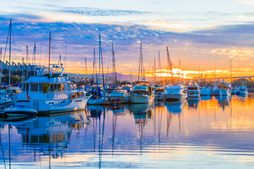 Marina「boats, marina at dawn, sunrise clouds, San Diego Harbor, California」:スマホ壁紙(15)