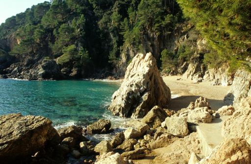 岩「'cove bear calella de palafrugell, costa brava, catalonia, spain'」:スマホ壁紙(13)