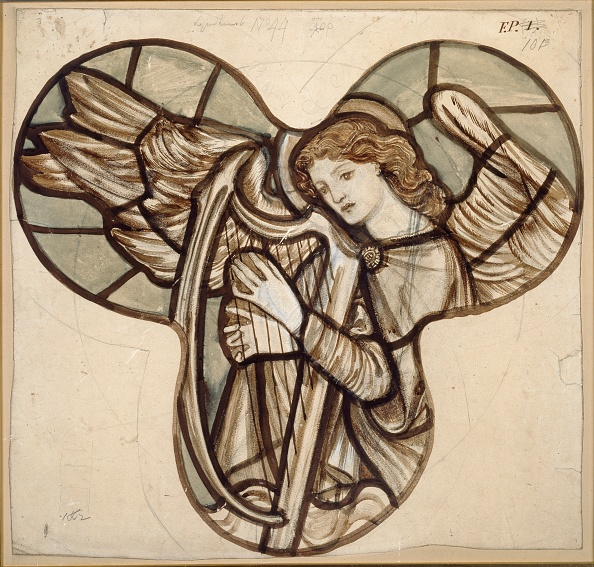 Pencil「Design For Stained Glass In Lyndhurst Church: An Angel Harpist」:写真・画像(3)[壁紙.com]
