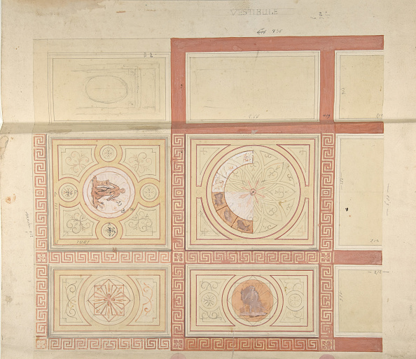 Ceiling「Design For The Decoration Of The Ceiling Of A Vestibule In Painted Panels With Roman Key」:写真・画像(2)[壁紙.com]
