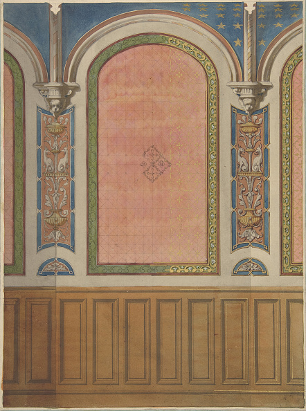 Wood Paneling「Design For The Decoration Of Wall With Wood Panels And Arched Bays」:写真・画像(15)[壁紙.com]
