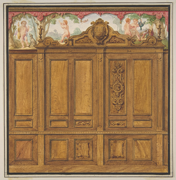 Wood Paneling「Design For The Decoration Of A Room With A Large Wood-Paneled Cupboard」:写真・画像(14)[壁紙.com]