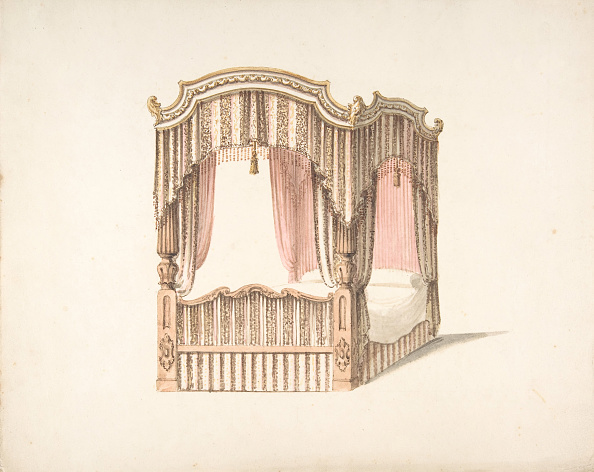 Bedroom「Design For A Curtained Four Poster Bed With Brown」:写真・画像(4)[壁紙.com]