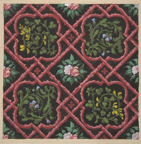 Ornate「Design For Wallpaper Featuring Flowers And Latticework」:写真・画像(14)[壁紙.com]