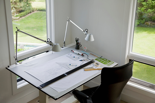 Desk Lamp「Architect's Drafting Table in Home Office」:スマホ壁紙(0)