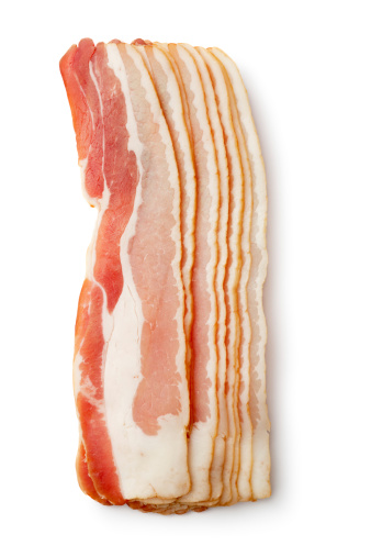 Raw Food「Meat: Bacon Isolated on White Background」:スマホ壁紙(8)