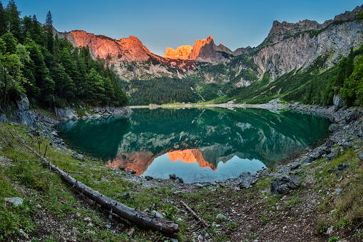 Salzkammergut「Alpenglow at Gosausee with dachstein view - European Alps」:スマホ壁紙(1)