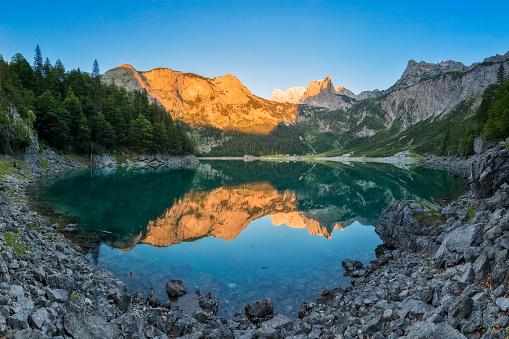 Dachstein Mountains「Alpenglow at Gosausee with dachstein view - European Alps」:スマホ壁紙(9)