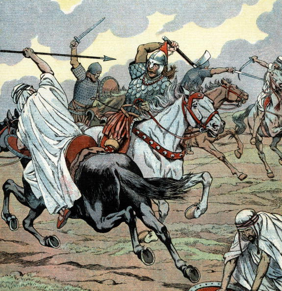 Poitiers「Poitiers battle in 732 : victory of Charles Martel against Saracens, illustration by Job, 1930」:写真・画像(17)[壁紙.com]