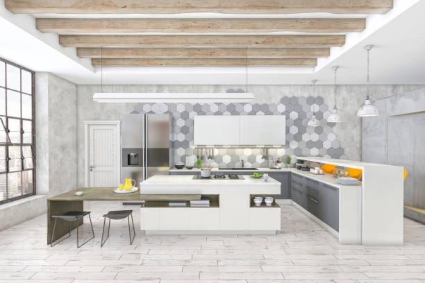 Large open plan kitchen interior:スマホ壁紙(壁紙.com)