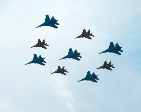 Russian Military「MiG-29 and Su-27, flying for Victory Day」:スマホ壁紙(0)