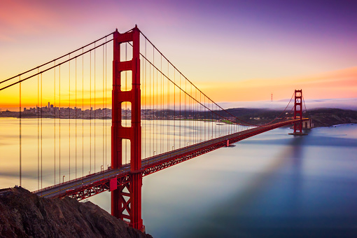 USA「Long exposure before sunrise in golden gate bridge, san francisco, usa」:スマホ壁紙(15)