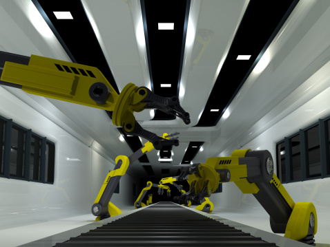 Machinery「Robots working on factory production line」:スマホ壁紙(7)
