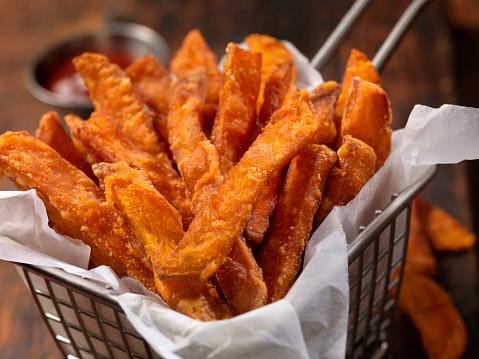 Vegetarian Food「Basket of Sweet Potato French Fries」:スマホ壁紙(16)