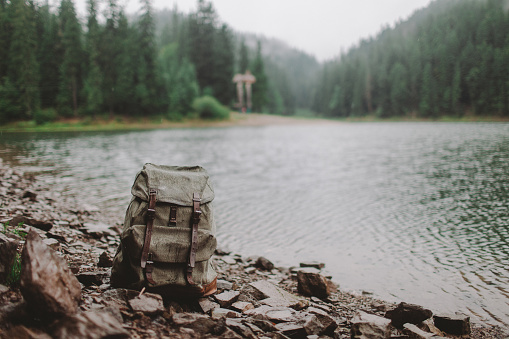 Footpath「Old fashioned backpack near the lake in mountains」:スマホ壁紙(18)