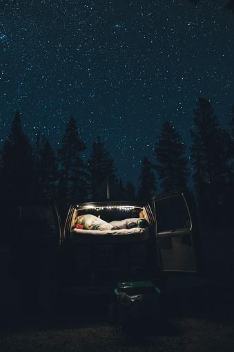 Motor Vehicle「Canada, British Columbia, Chilliwack, starry sky and illuminated minivan at night」:スマホ壁紙(3)