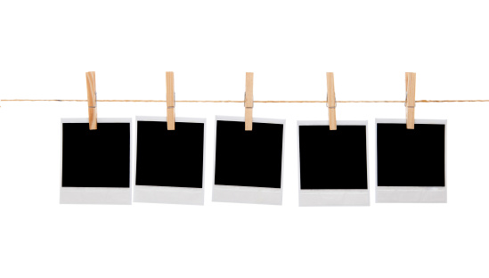 Clothespin「Blank instant photo prints on a washing line」:スマホ壁紙(7)