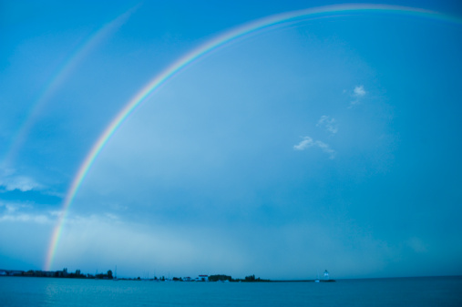 Double Rainbow「Double rainbow over a lighthouse, Lake Superior」:スマホ壁紙(15)