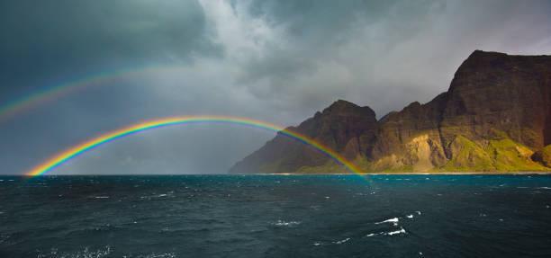 Double Rainbow at Na Pali Coast in Kauai, Hawaii:スマホ壁紙(壁紙.com)