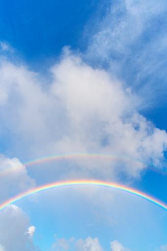 虹「Double Rainbow in the Blue Sky」:スマホ壁紙(10)