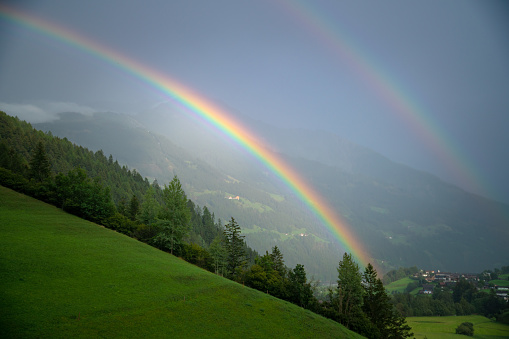 Central Eastern Alps「Double Rainbow over lush alpine landscape, Lienz, Austria」:スマホ壁紙(15)