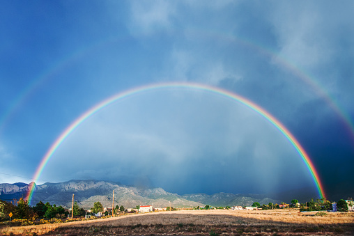 Double Rainbow「Double rainbow after a storm, with Sandia mountains in background」:スマホ壁紙(6)