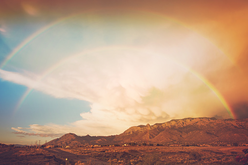 Double Rainbow「Double rainbow after a storm, with Sandia mountains in background」:スマホ壁紙(11)
