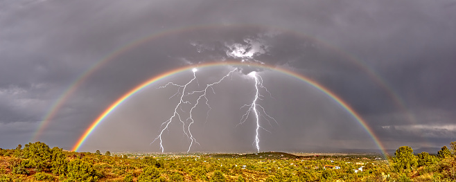 Double Rainbow「Double Rainbow and Lightning Storm approaching Chino Valley, Arizona, United States」:スマホ壁紙(12)