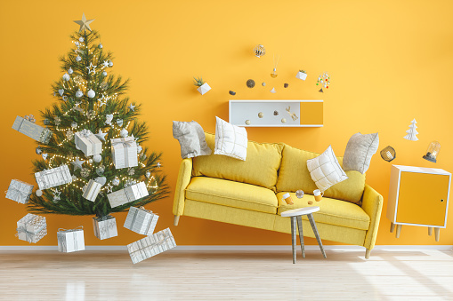 Colored Background「Gravity Concepts. Yellow Living Room with Christmas Tree」:スマホ壁紙(15)