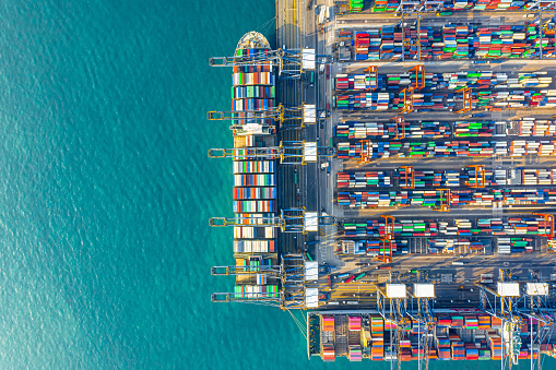 Industry「Container Cargo freight ship Terminal in Hong kong」:スマホ壁紙(19)
