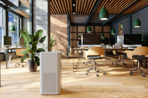 Blurred Motion「Air Purifier In Modern Open Plan Office For Fresh Air, Healthy Life, Cleaning And Removing Dust.」:スマホ壁紙(7)